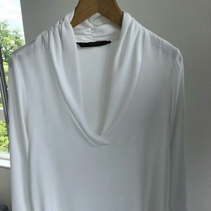 White V-neck Zara blouse purchased feb 18' size S